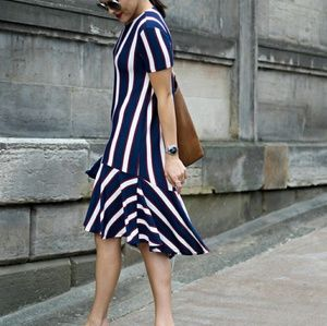 ZARA striped frill dress